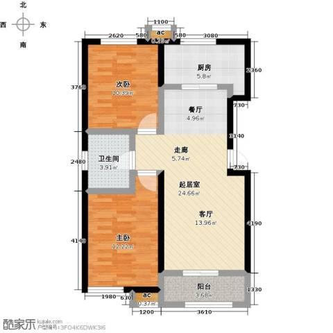 和泓四季恋城2室0厅1卫1厨82.00㎡户型图