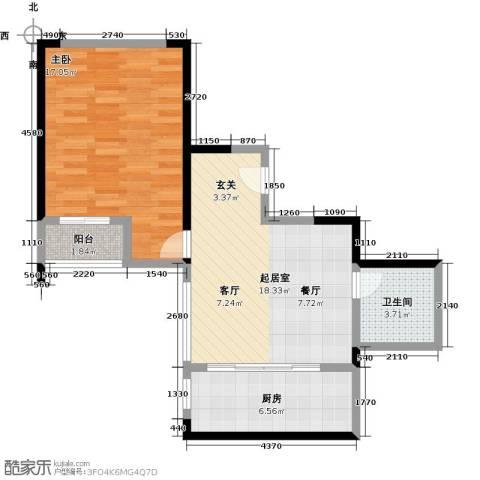 仕府公馆1室0厅1卫1厨54.00㎡户型图
