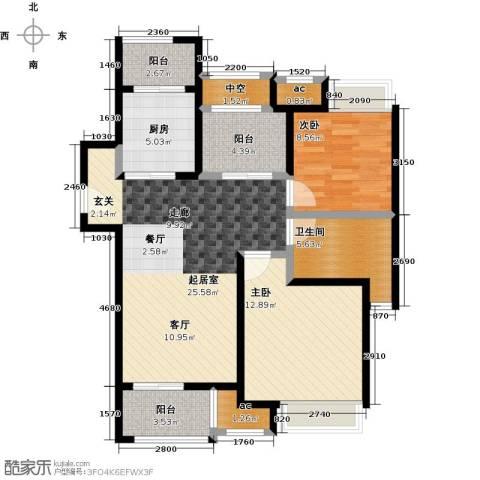 中海御景湾2室0厅1卫1厨88.00㎡户型图