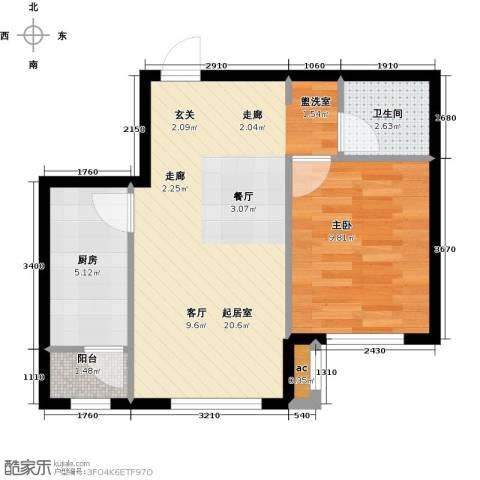 和泓四季恋城1室0厅1卫1厨59.00㎡户型图