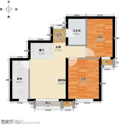 和泓四季恋城2室0厅1卫1厨74.00㎡户型图