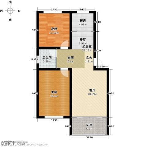 尧和宁苑三期2室0厅1卫1厨78.00㎡户型图