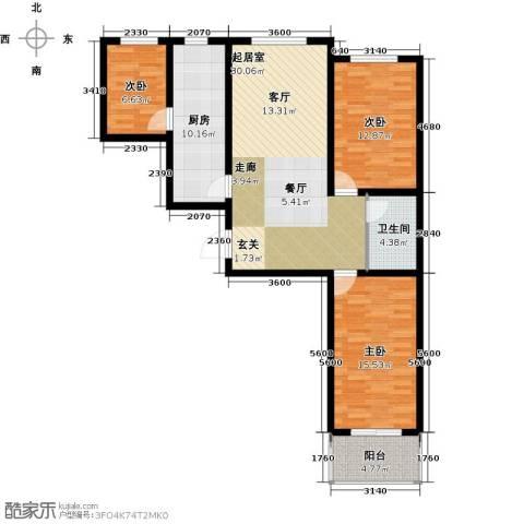 尧和宁苑三期3室0厅1卫1厨97.00㎡户型图