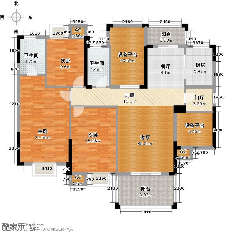 世纪豪庭户型3室1厅2卫1厨