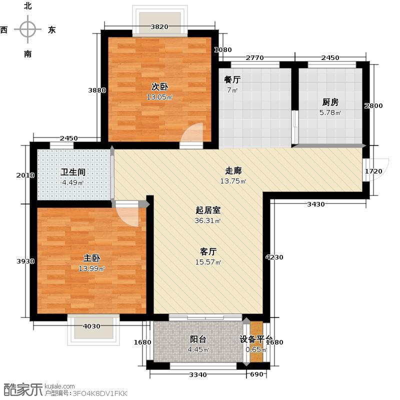 西上海名邸B1户型2室1卫1厨