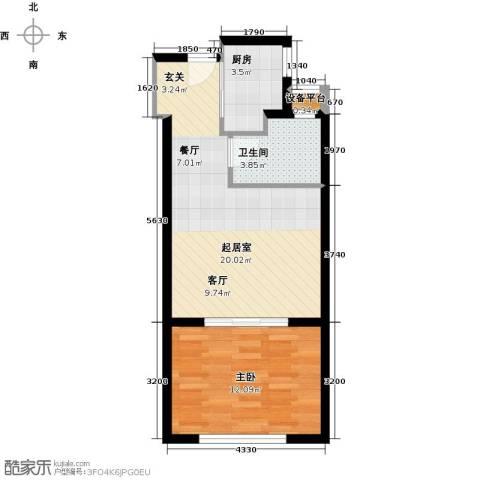 万富汇1室0厅1卫1厨45.00㎡户型图