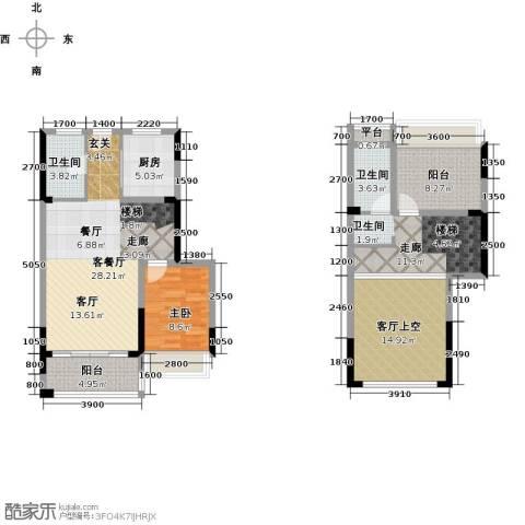 西湖怡景园1室1厅2卫1厨99.00㎡户型图