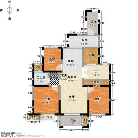 山湖湾3室0厅1卫1厨100.00㎡户型图