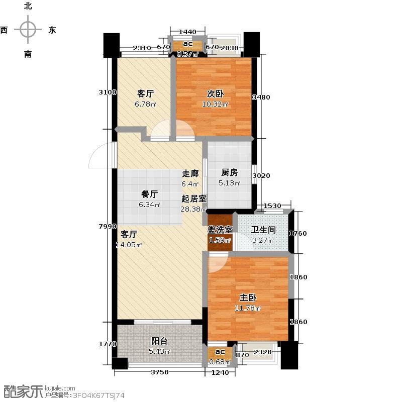 旭辉华庭90.00㎡B2户型3室2厅2卫