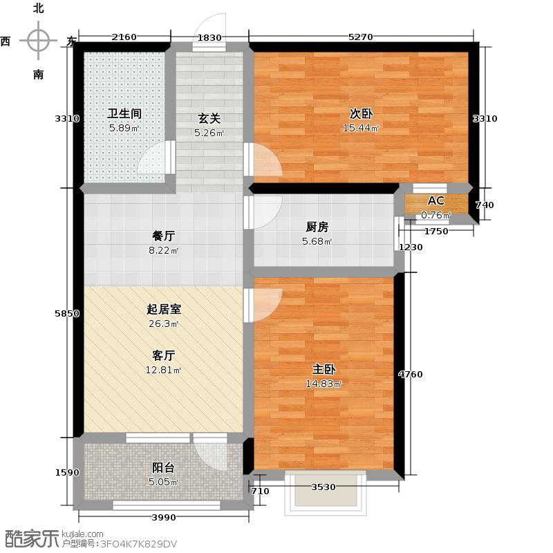 万国园星洲美域83.50㎡13号楼1单元102户型2室2厅1卫