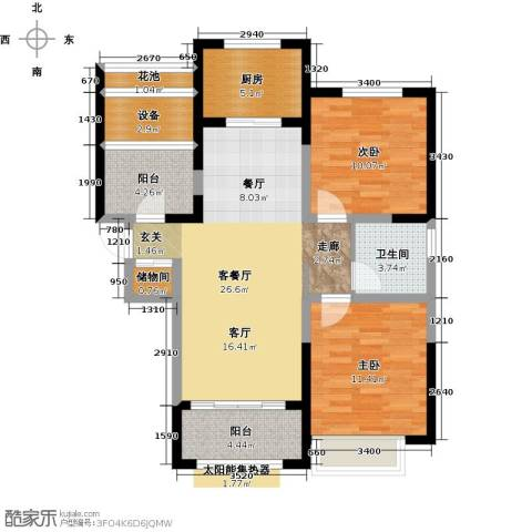 华地润园2室1厅1卫1厨95.00㎡户型图