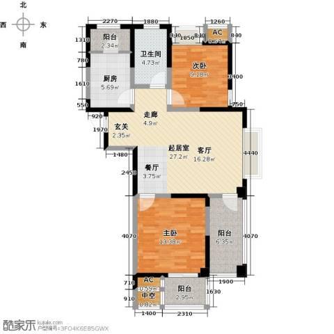 越湖家天下2室0厅1卫1厨86.00㎡户型图