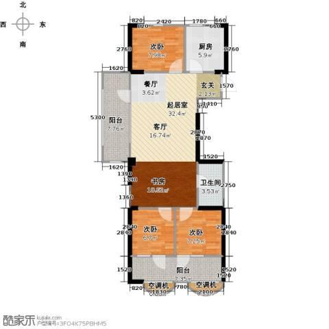 中央学府3室0厅1卫1厨105.00㎡户型图