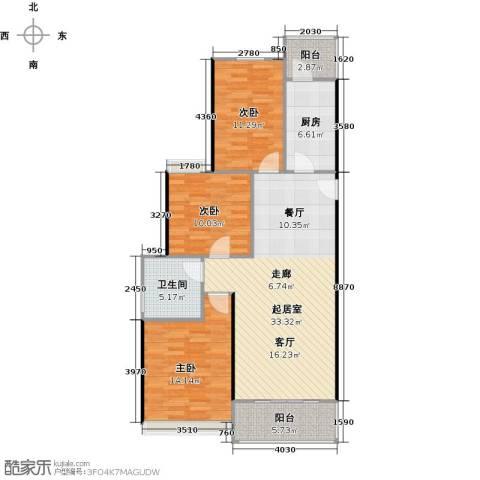 恒大中心3室0厅1卫1厨100.00㎡户型图