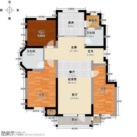 听雨观澜电梯洋房3室0厅2卫1厨144.00㎡户型图