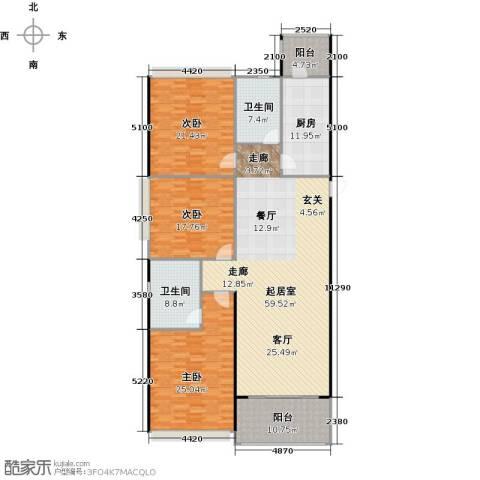 恒大中心3室0厅2卫1厨167.39㎡户型图