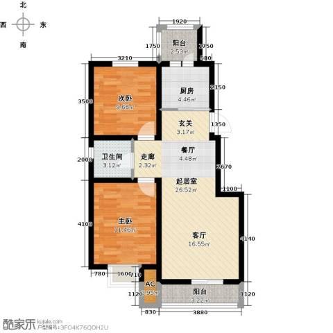 听雨观澜电梯洋房2室0厅1卫1厨90.00㎡户型图