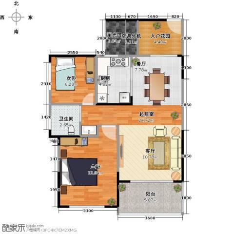 建大领秀城2室0厅1卫1厨74.00㎡户型图