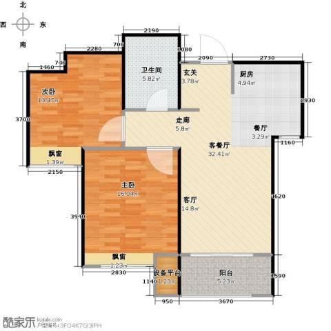 海信天山郡2室1厅1卫0厨80.00㎡户型图