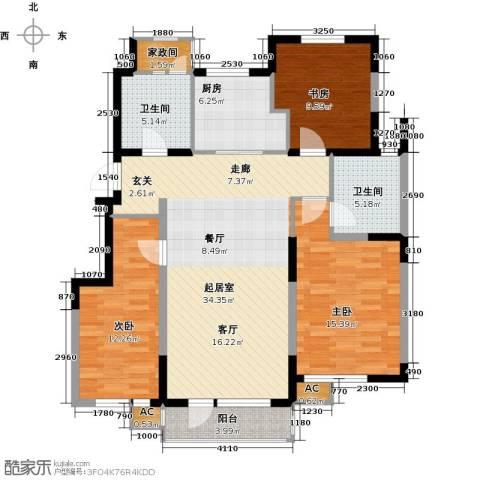听雨观澜电梯洋房3室0厅2卫1厨135.00㎡户型图