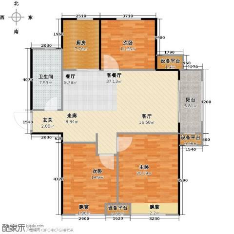 海信天山郡3室1厅1卫1厨116.00㎡户型图