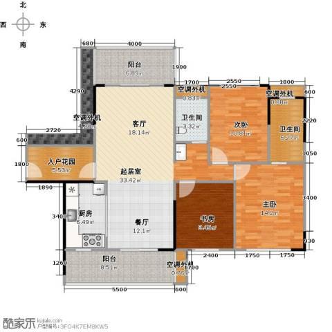 建大领秀城3室0厅2卫1厨117.00㎡户型图