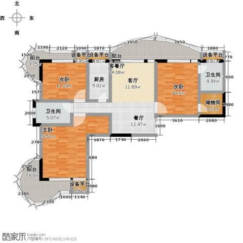 东方巴黎3室1厅2卫1厨165.00㎡户型图
