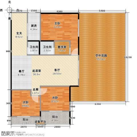 中和龙沐湾・海润源3室0厅2卫1厨153.00㎡户型图