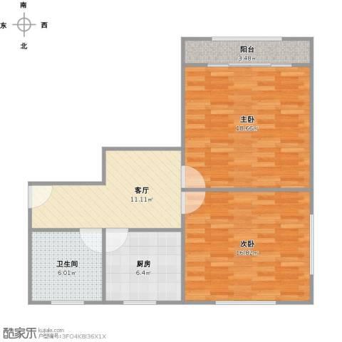 田林十一村2室1厅1卫1厨84.00㎡户型图
