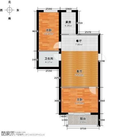 心悦购物广场2室1厅1卫1厨72.00㎡户型图