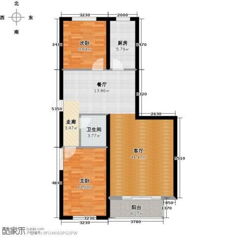 心悦购物广场2室1厅1卫1厨87.00㎡户型图