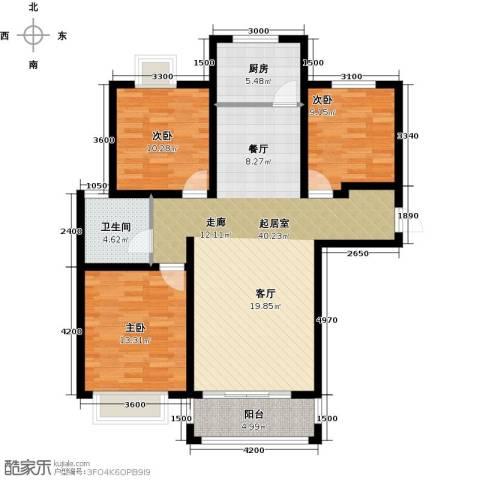 凤凰水城3室0厅1卫1厨117.00㎡户型图