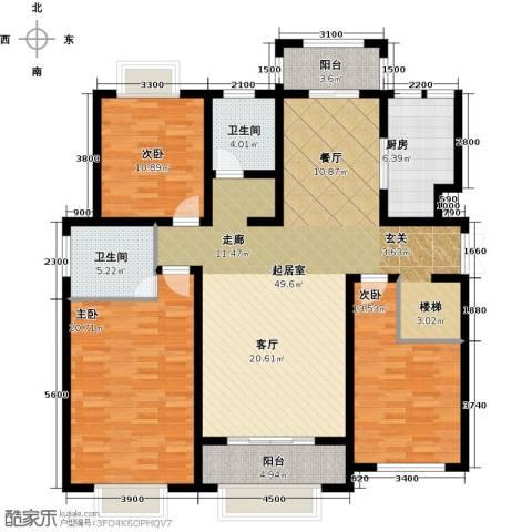 凤凰水城3室0厅2卫1厨158.00㎡户型图
