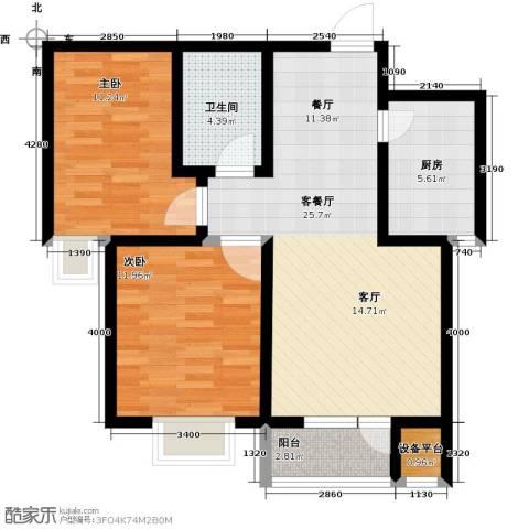 耀华心领寓2室1厅1卫1厨94.00㎡户型图