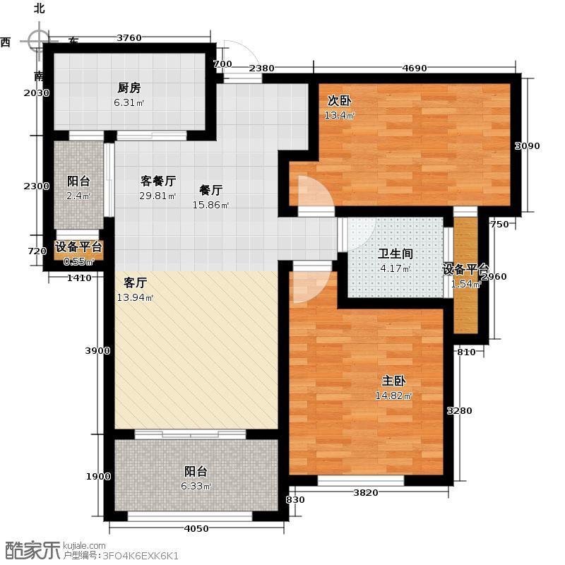 美联德玛假日89.00㎡B2户型 2室2厅1卫户型2室2厅1卫