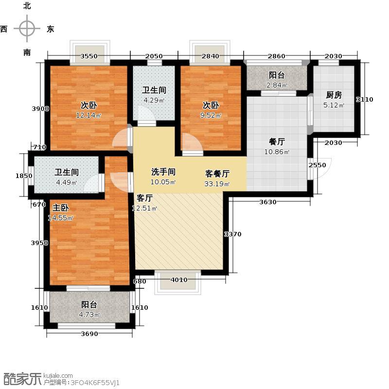 美联德玛假日104.00㎡A1户型 3室2厅2卫户型3室2厅2卫