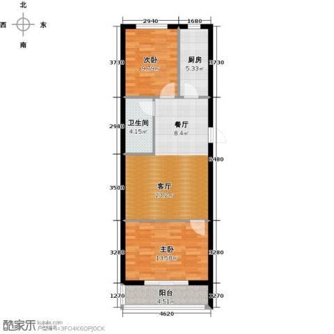 心悦购物广场2室1厅1卫1厨67.00㎡户型图