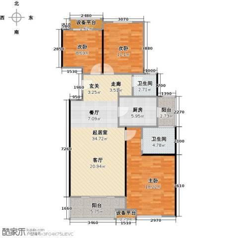 高科麓湾国际社区3室0厅2卫1厨131.00㎡户型图