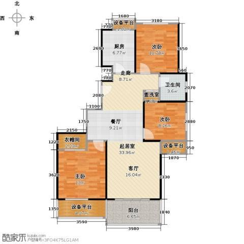 高科麓湾国际社区3室0厅1卫1厨126.00㎡户型图