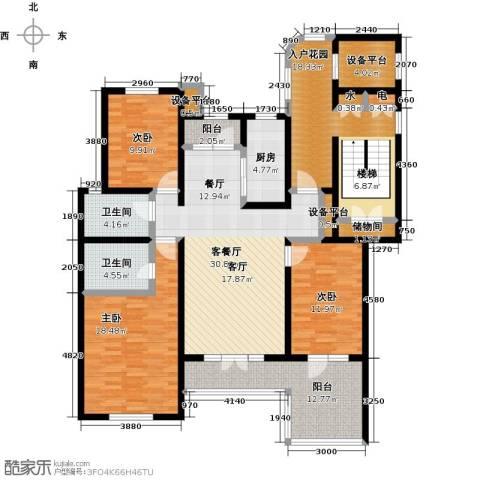 吉宝沁风御庭3室1厅2卫1厨184.00㎡户型图