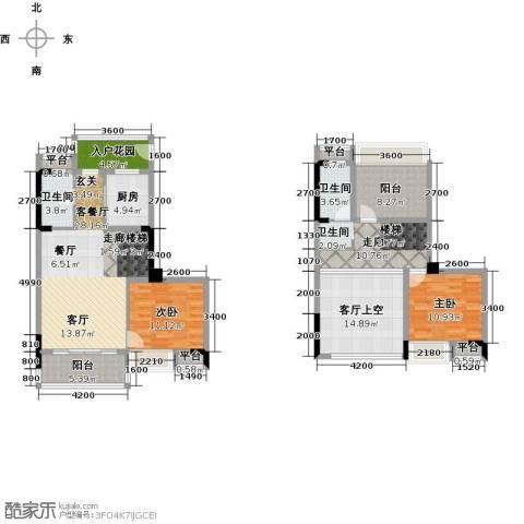 西湖怡景园2室1厅2卫1厨117.00㎡户型图