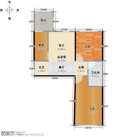 青国青城2室0厅1卫1厨66.00㎡户型图