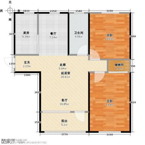 青国青城2室0厅1卫1厨77.00㎡户型图