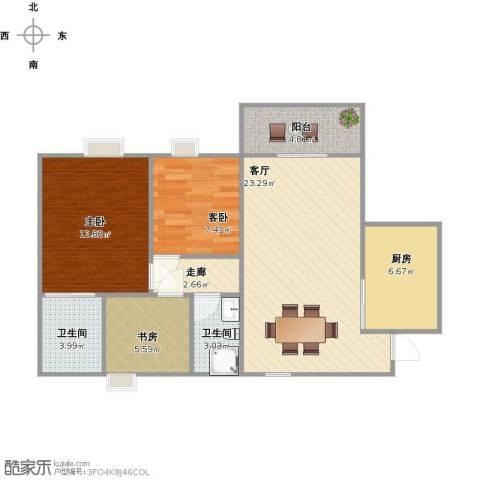 顺景花园四期3室1厅2卫1厨95.00㎡户型图