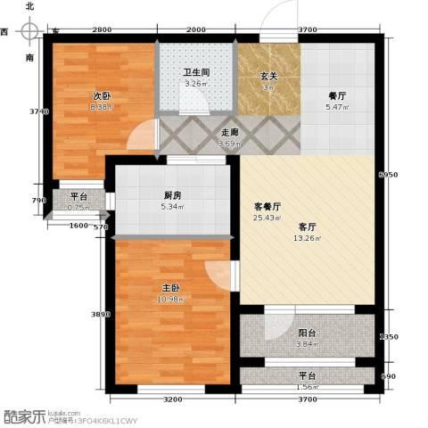 紫林湾2室1厅1卫1厨88.00㎡户型图