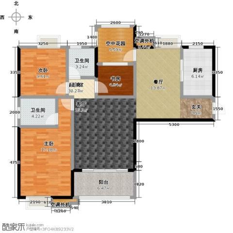 易景凯旋城3室0厅2卫1厨121.00㎡户型图