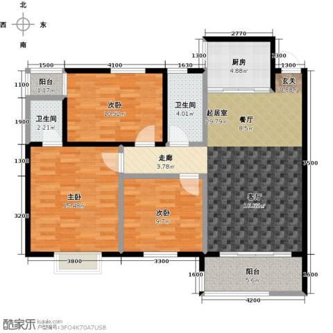 金星阳光格林3室0厅2卫1厨109.00㎡户型图