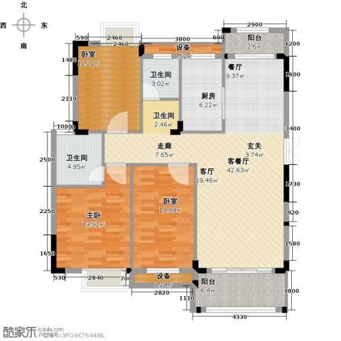 联泰棕榈庄园1室1厅2卫1厨124.00㎡户型图