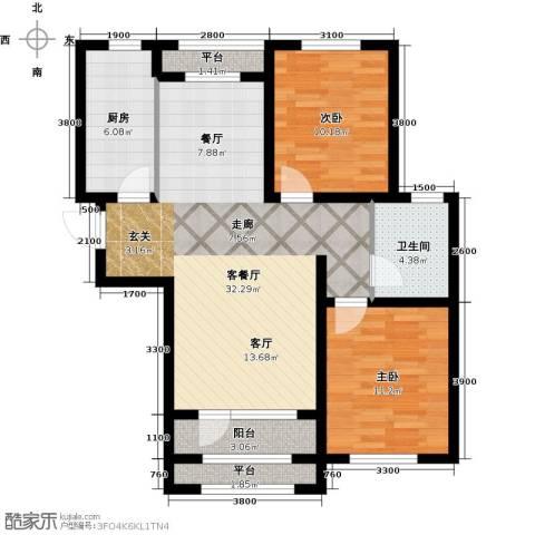 紫林湾2室1厅1卫1厨106.00㎡户型图