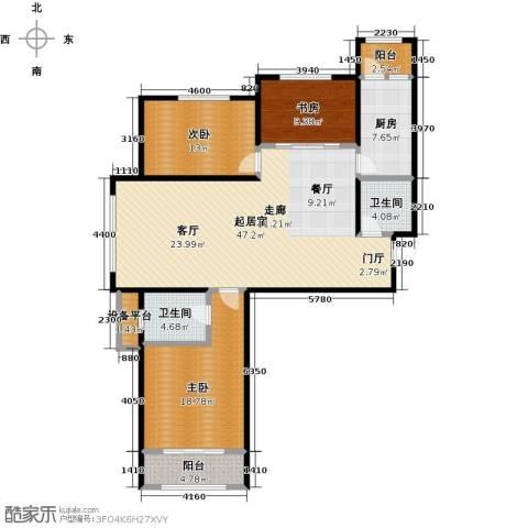 中基碧域3室0厅2卫1厨127.00㎡户型图